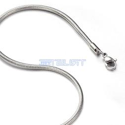 """1.5 mm 16"""" 16 inch Silver Stainless Steel Round Snake Neckla"""