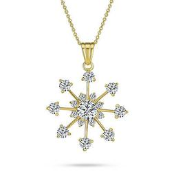Bling Jewelry 14K Gold Plated Cubic Zirconia Snowflake Penda