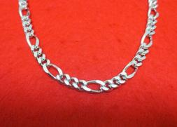 14KT WHITE GOLD EP 16 INCH 9MM FIGARO ROPE CHAIN BLING NECKL