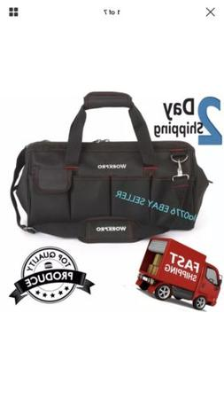 Workpro 16 Inch Close Top Storage Tool Bag Wide Mouth Adjust