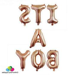 16 Inch Rose Gold ITS A BOY Foil Balloon Banner, Baby Shower
