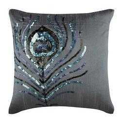 16x16 inch Decorative Throw Pillowcase Silver, Silk Birds -