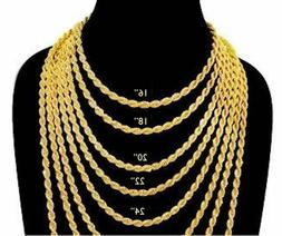 4 mm Gold18 K IP Plated Stainless Steel Rope Chain Necklace