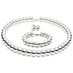 "8mmLARGE Italian Sterling Silver BALL Bead Necklace 16""in wi"
