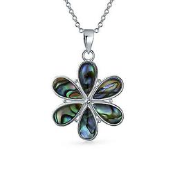 Bling Jewelry 925 Sterling Silver Abalone Shell Daisy Chain