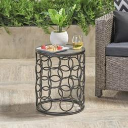Beryl Outdoor 16 Inch Grey Finish Ceramic Tile Side Table