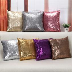 Bling Sequins Throw Pillow Cover Glitter Silver Cushion Cove