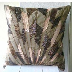 Brown Sequins & Beaded 16X16 inch Silk Throw Pillows Cover -
