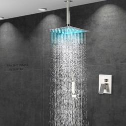 Chrome Finish 16 Inch LED Rainfall Shower Head  Square Ultra
