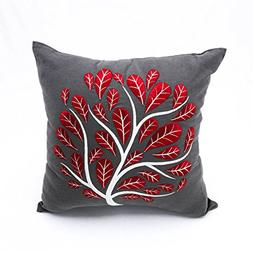 Cotton Linen Floral Decorative Pillow for Couch, Embroidery