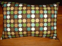 Decorator cotton 12 x 16 inch pillow cover brown teal polka