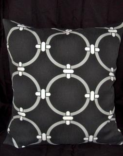 Decorator weight cotton 16 inch pillow cover black & white t