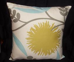 Decorator weight cotton 16 inch pillow cover teal lime flora