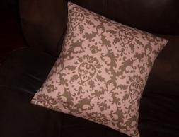 Decorator weight cotton 16 inch pillow cover Pink & Brown  t