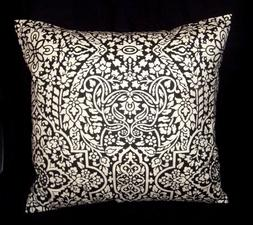 Decorator weight cotton 16 inch pillow cover black & white p