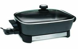 Oster Electric Skillet, 16 Inch, Black/Stainless Steel