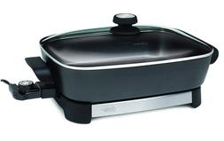 electric skillet 16 inch black stainless steel