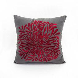 KainKain Red Flower Throw Pillow Cover Gray Cotton Floral Ha