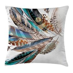 Ambesonne Feather House Decor Throw Pillow Cushion Cover, Va