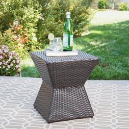 "GDF Studio Frances Outdoor 16"" Multibrown Wicker Square Side"