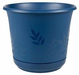 "Bloem Freesia Planter w/Saucer, 16"", Deep Sea"