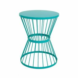 Furniture Fern Outdoor 16 Inch Matte Teal Iron Side Table