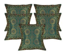Green Throw Pillow Indian Silk Fabric Cushion Covers 16 x 16