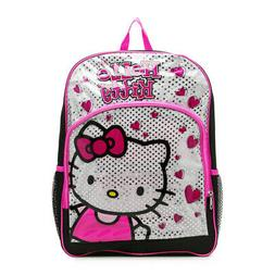 Hello Kitty Glitter Backpack 16inch Black Pink Silver with H
