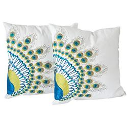 16-inch Embroidered Peacock Tail Throw Pillows