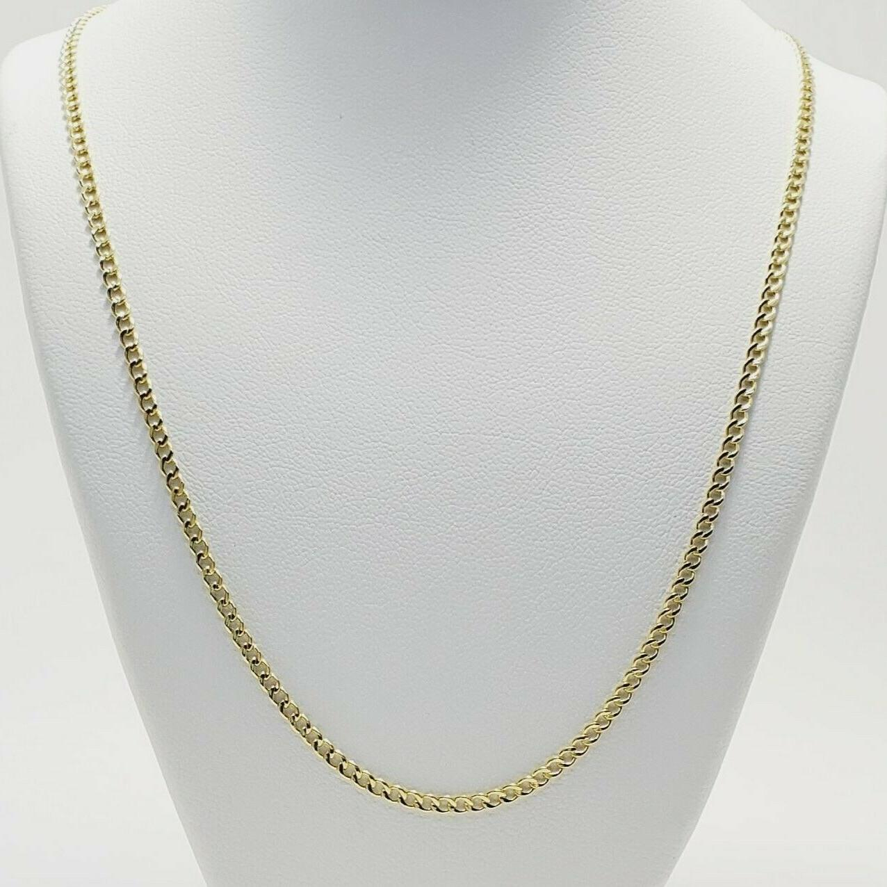 """10K Solid Yellow Gold Cuban Chain Necklace 20"""" 24"""""""