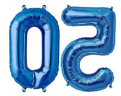 16 inch 50 blue number balloons 50th