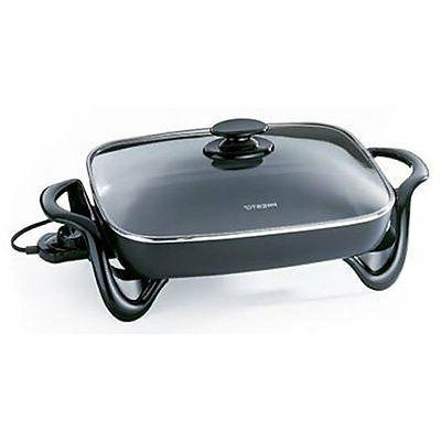 16 inch electric skillet w glass cover