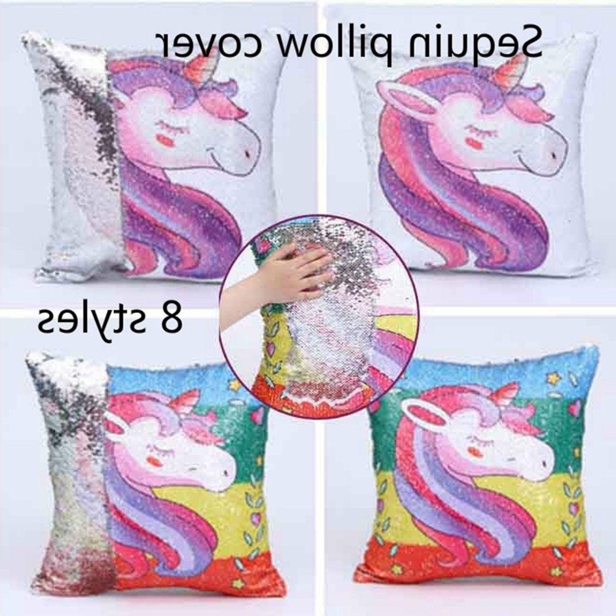 16 Inch Sequin Unicorn Cushion Pillow Case Covers Reversible