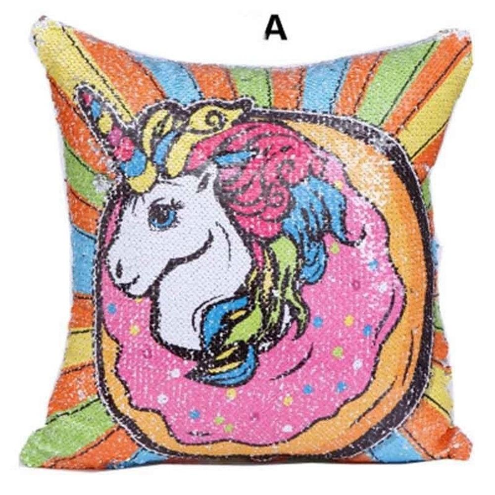 16 Sequin Cushion Pillow Case Reversible Throw