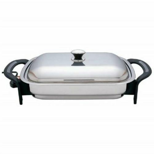 16 inch rectangle electric skillet stainless steel