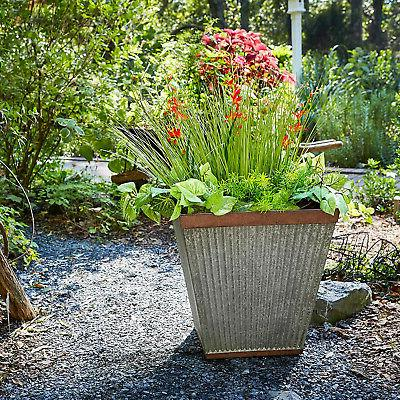 Southern Patio Square Rustic Box Flower Planter