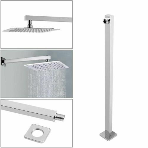 16inch shower extension arm square chrome wall