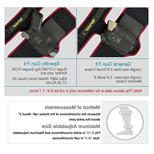 topmeet Ankle/Leg Gun for Concealed with OWB Magazine Pocket Fits Glock 18 Shield 45 Xds xd,