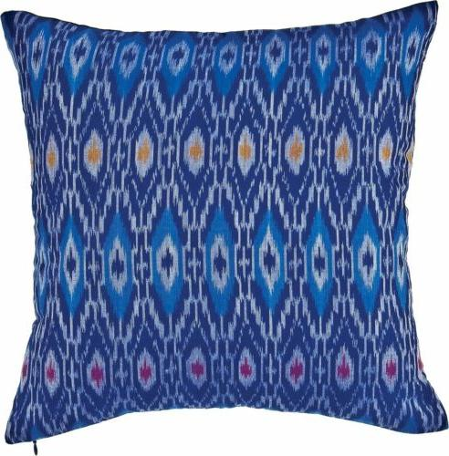 Blue Anusha Ikat Throw Pillow Cover - 16 Inch Square
