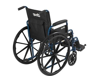Drive Medical Blue Wheelchair with Back Desk Elevating Rest