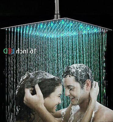16-Inch LED Rainfall Shower Brushed Top Shower