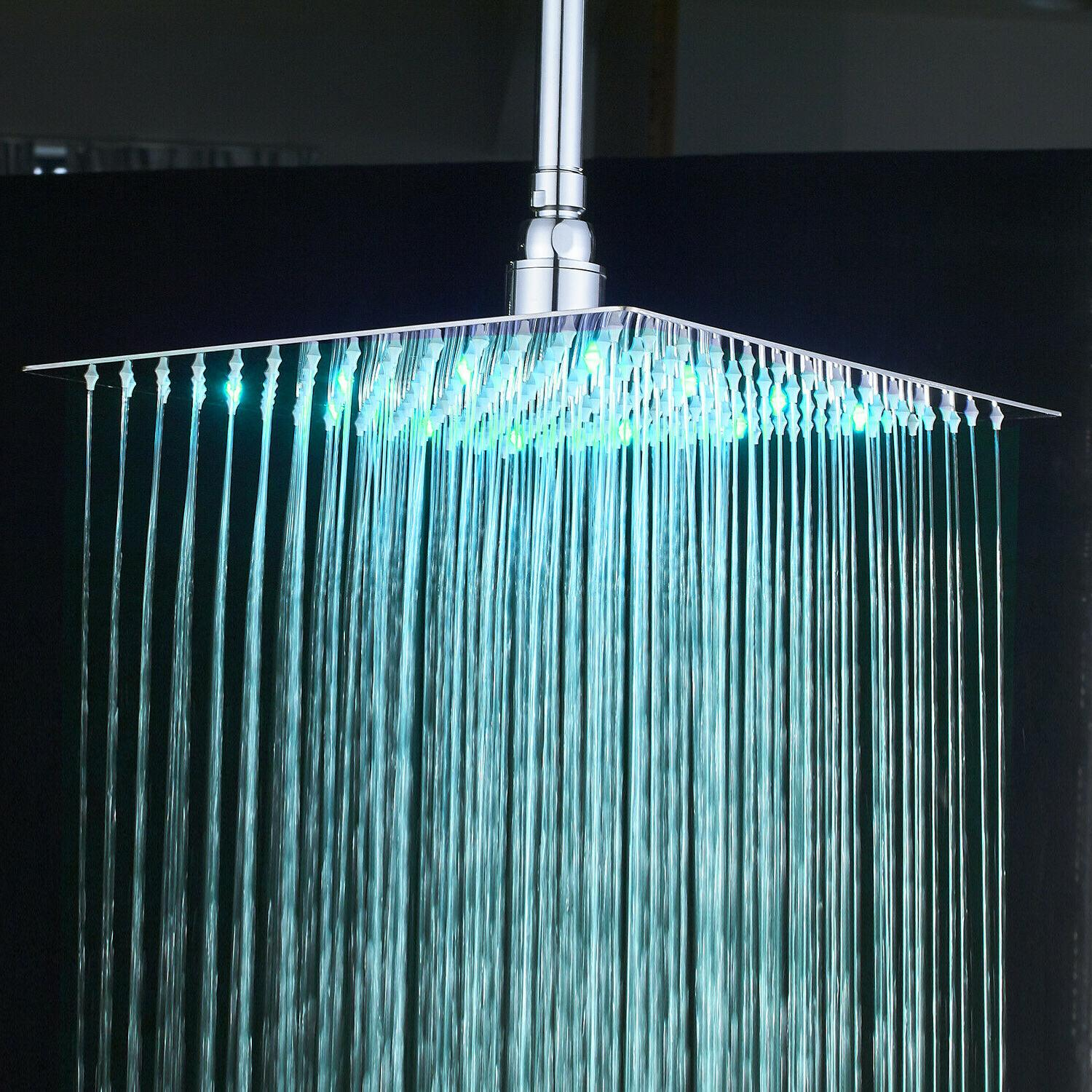 Chrome 16 LED Shower Square Ultra Sprayer