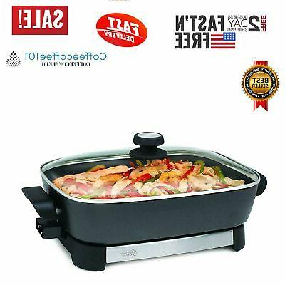 electric skillet 16 inch non stick surface