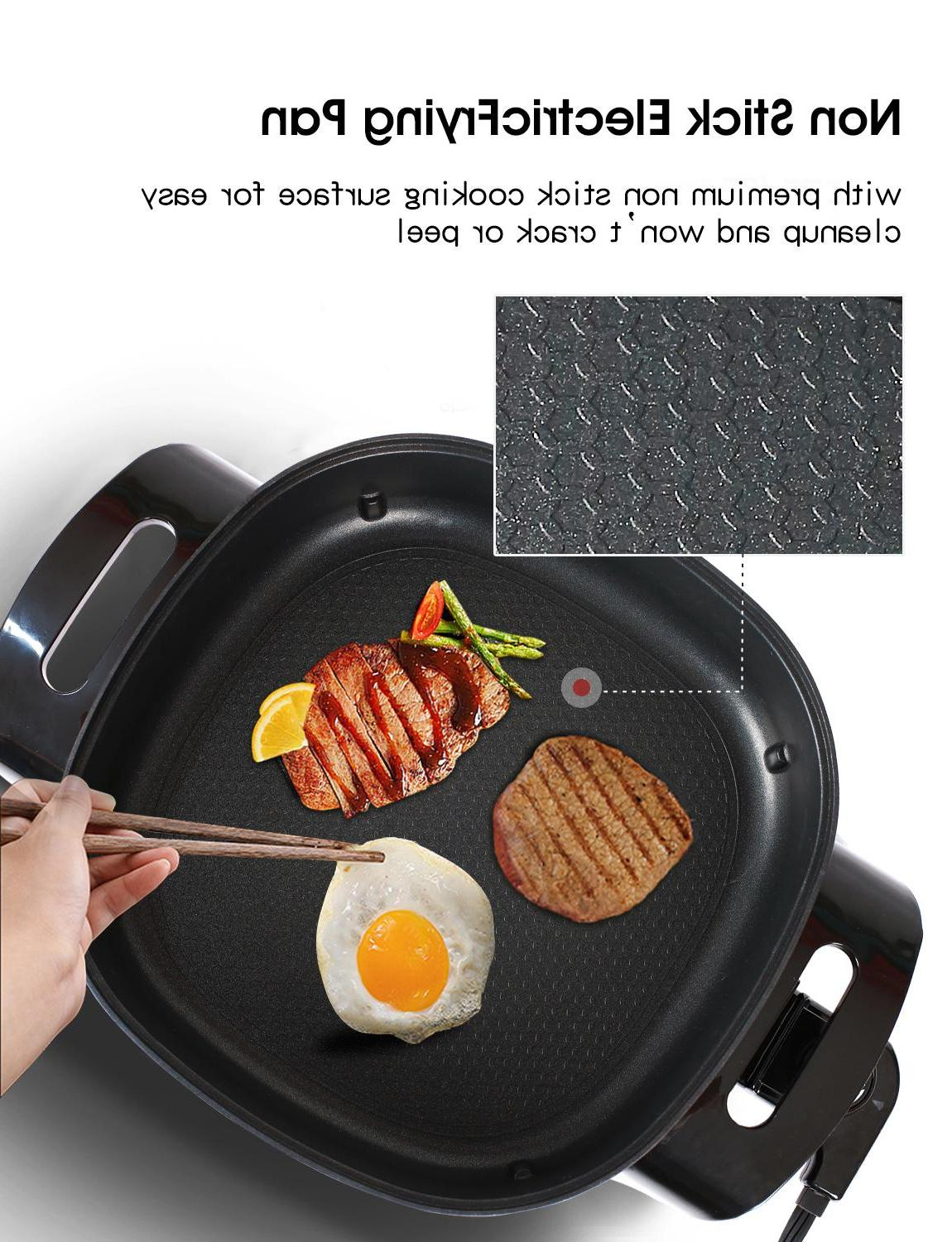 """HUIDANGJIA Non Stick <font><b>Electric</b></font> Frying Pan, 12 <font><b>Inch</b></font> <font><b>Electric</b></font> Griddle with with 1360 watts,<font><b>16</b></font>"""" 12"""""""