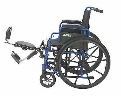 Medical Blue Wheelchair with Flip Back Desk Arms,