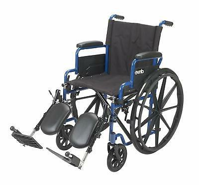 medical blue streak wheelchair with flip back
