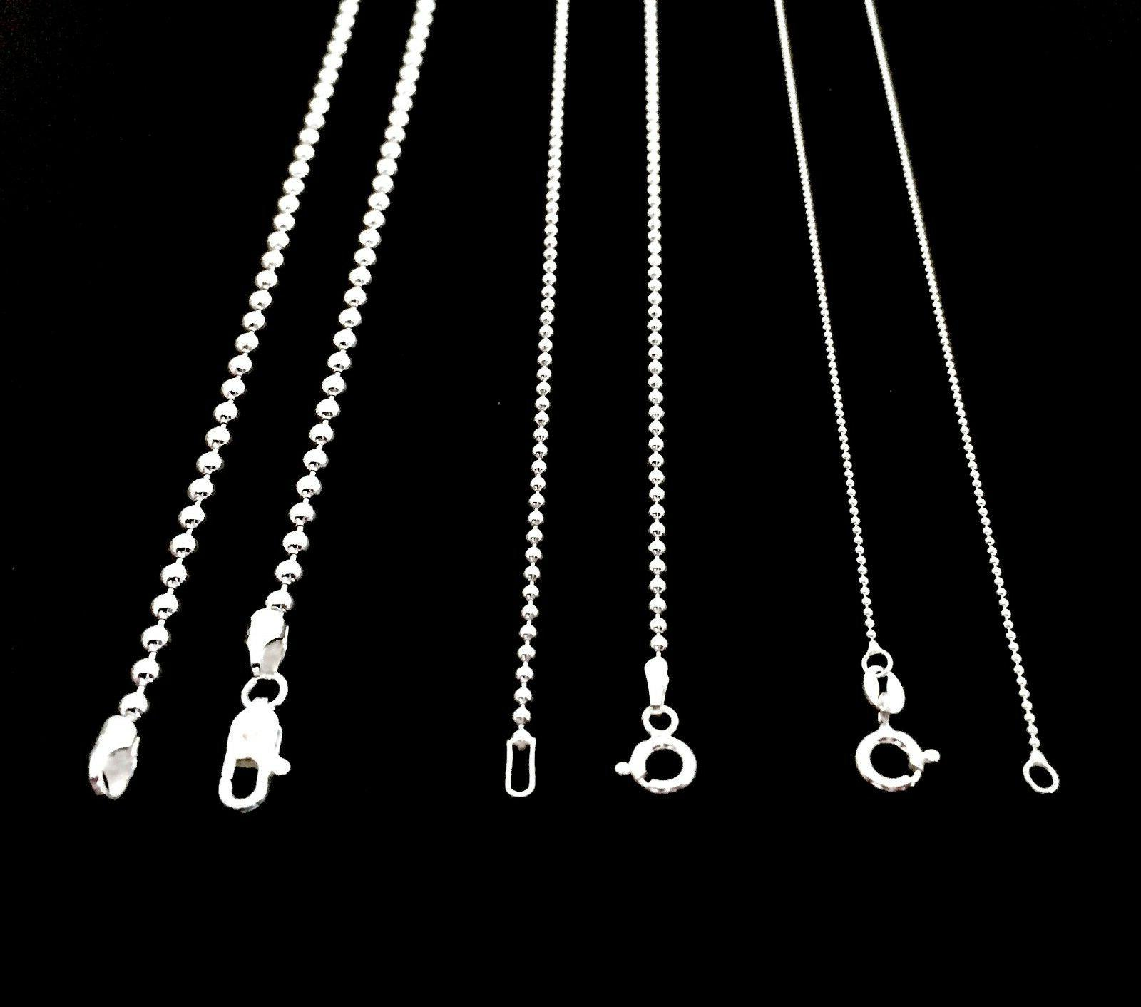 NEW SOLID 925 STERLING SILVER BEAD BALL CHAIN DOG TAG NECKLA