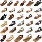 New Women Gladiator Sandals Shoes Thong Flops T Strap Flip F