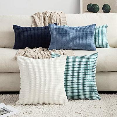 MIULEE Decorative Pillow Covers Soft Corduroy Solid Case