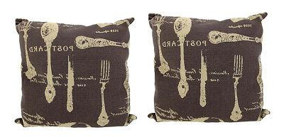 Pair of Brown Canvas French Cuisine Postcard Theme Throw Pil